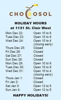 ChocoSol Holiday Hours 2014